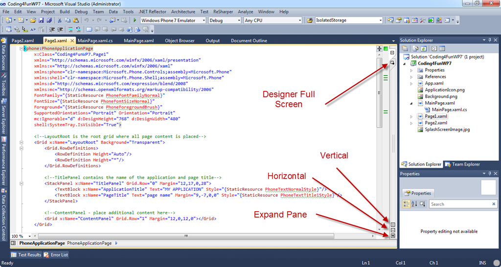 A few tips for working with XAML inside of Visual Studio