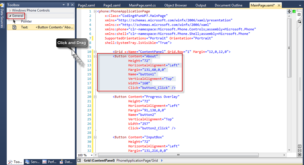A few tips for working with XAML inside of Visual Studio 2010