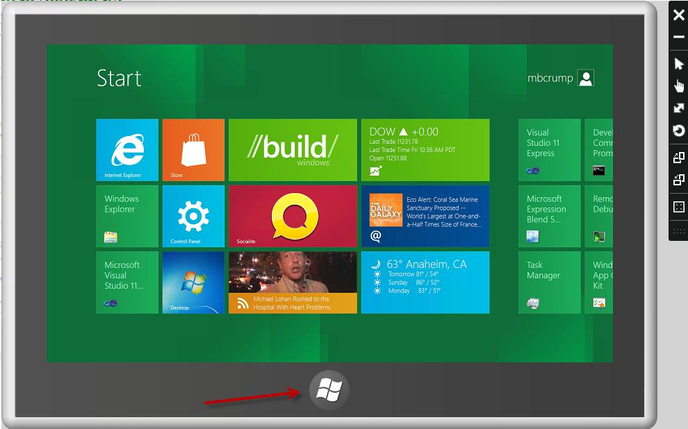 Taking a look at the Windows Simulator in Visual Studio 11